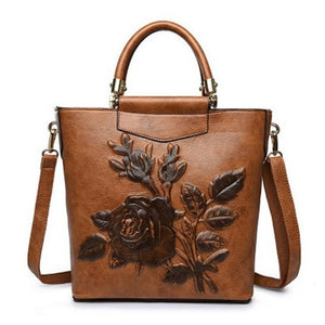 Women Designer Leather Hobo Bucket Bags Large Embroidery Embossing Printing retro Floral Handbag Luxury Tote Bag High quality - Zamavi.com