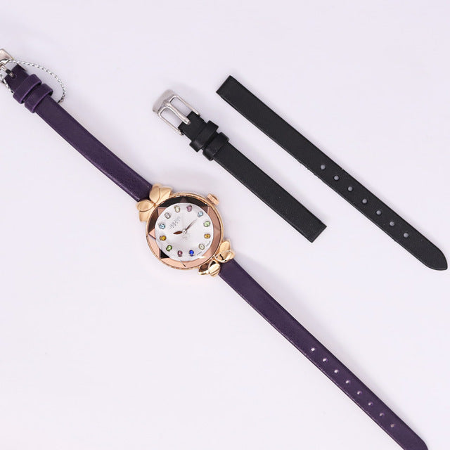 Free Spare Strap Lady Women's Watch Japan Quartz Cute Hours Fashion Real Leather Children Clock Girl's Birthday Gift Julius Box - Zamavi.com