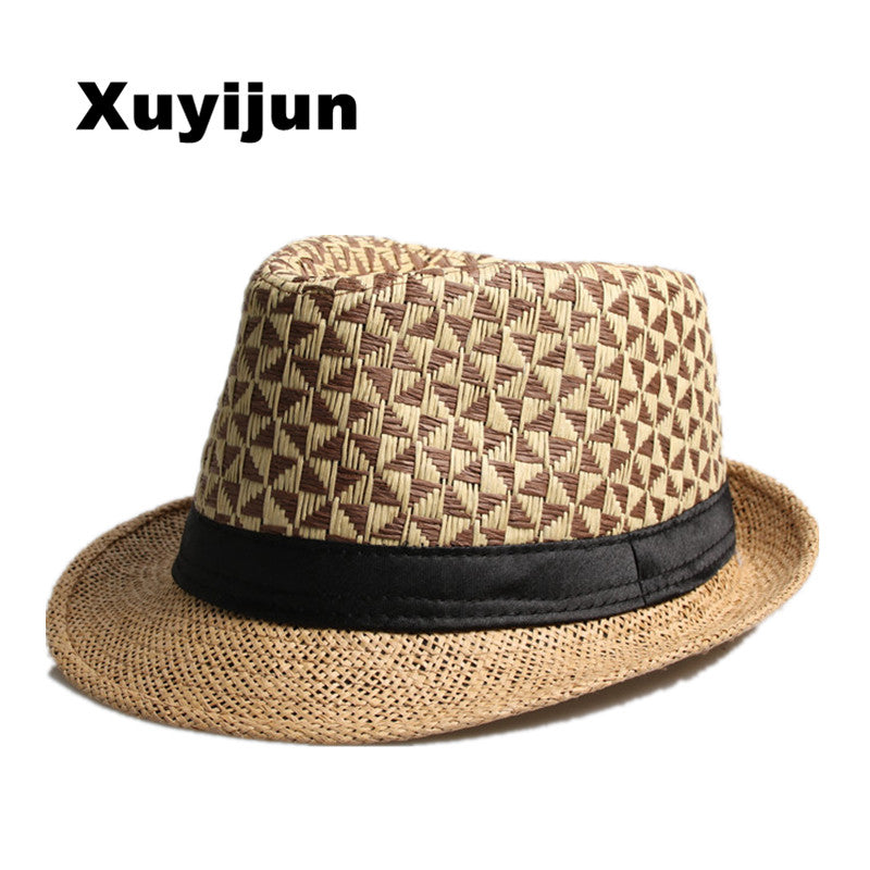 XUYIJUN Fashion Summer Straw man and  women's Sun Hats Fedora Trilby Gangster Cap Summer Beach Women Sun Straw Panama Hat with - Zamavi.com
