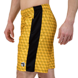 "ATK Apparel athletic shorts for men 5'8"" and under - Performance Shorts in yellow. Shorts for shorter men."