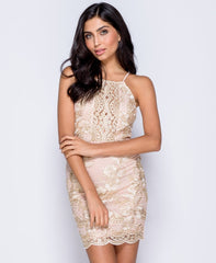 Nude/Gold Metallic Lace Front Cami Bodycon Mini Dress