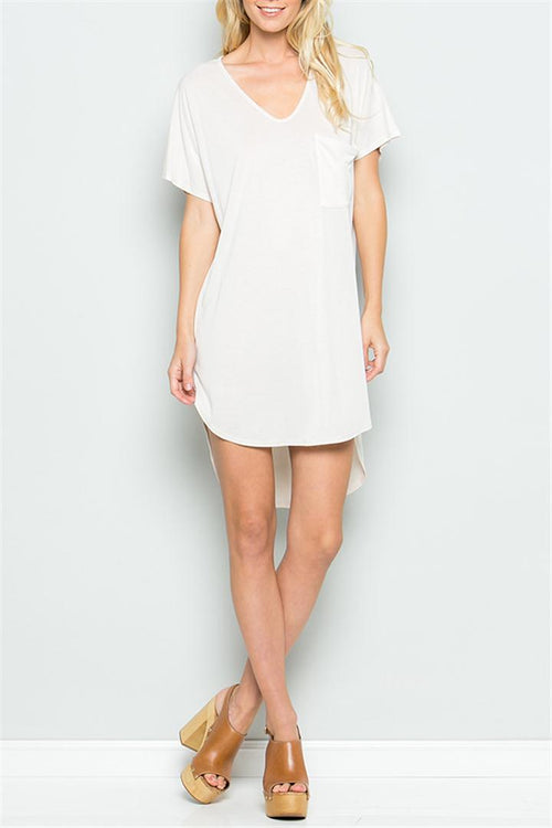 High Low V-Neck Tee Dress