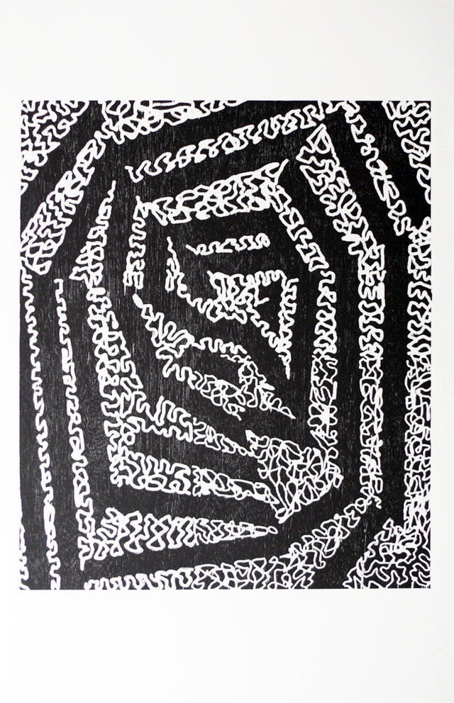 James Cousins, Convulsion, 2007, edition of 10, woodcut on paper, 1000 x 700 mm