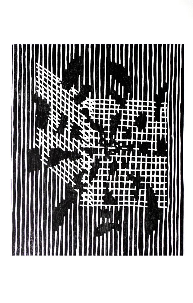 James Cousins, Eructation, 2007, edition of 10, woodcut on paper, 1000 x 700