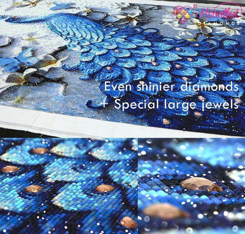 Image of Royal Blue Peacock (Premium)-Special Diamond Painting Kit-Heartful Diamonds