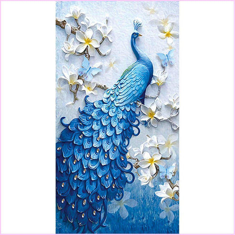 Image of Royal Blue Peacock (Premium)-Special Diamond Painting Kit-40x80cm (16x31 in)-Heartful Diamonds
