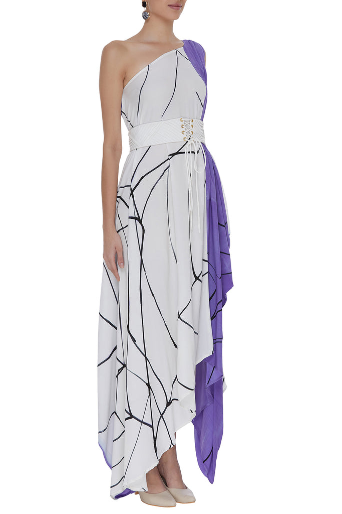 Hand Painted One Shoulder Draped Dress