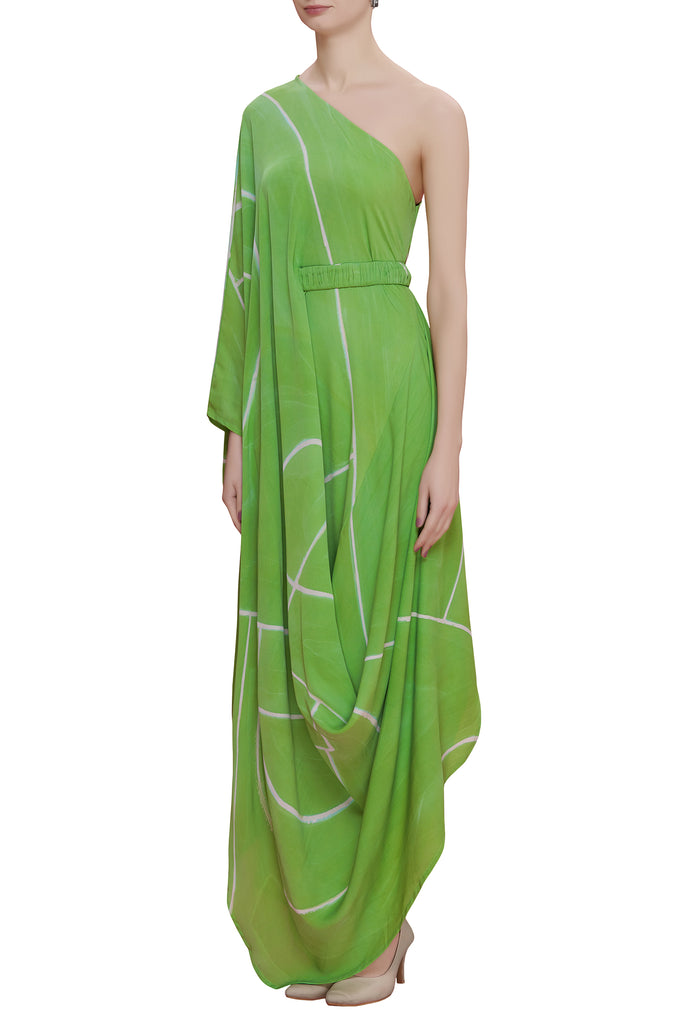 Hand Brush Painted Drape Dress