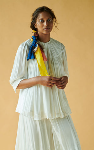 Pleating Textured Long Top