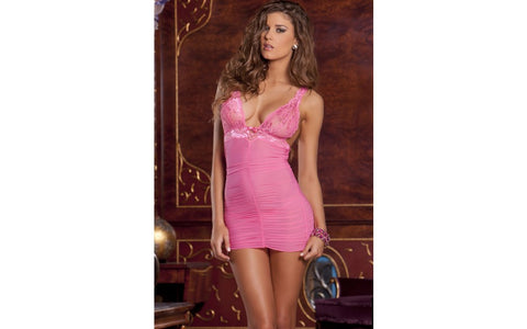 Rene Rofe - Rouched Mesh and Lace Chemise and G-String Set