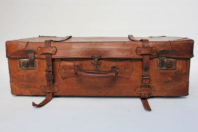 Vintage Soft Leather Tan Large Suitcase