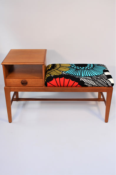 Mid Century Modern Vintage 1960s Telephone Table in Marimekko Fabric