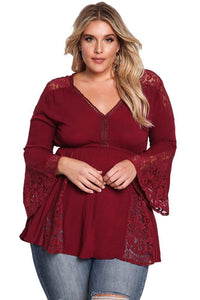 plus size Blouse & Shirt Red Wine / XL / AUS 16 - 18 Elsa Bell Sleeve Top - Red Wine