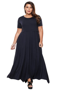 plus size Maxi Dress XL / AUS 18 - 20 / Navy Blue Bailey Handkerchief Maxi Dress