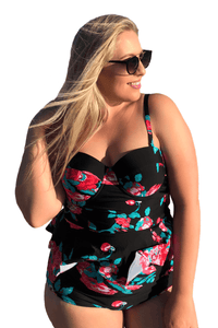 plus size Two Piece L / AUS 14 - 16 / Red & Black Floral Peplum Tankini Set
