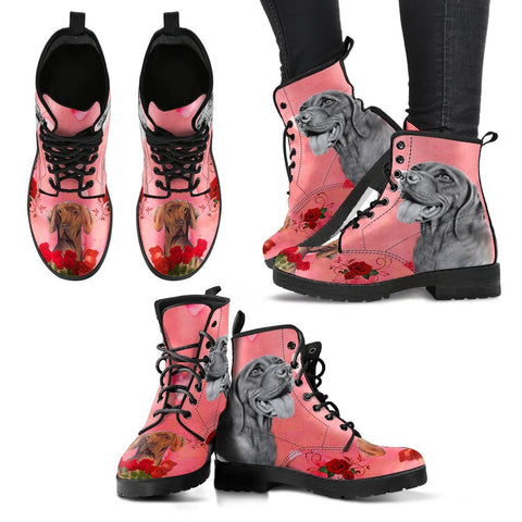Valentine's Day Special-Vizsla Dog With Red Rose Print Boots For Women-Free Shipping