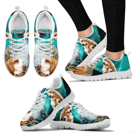 Basset Hound On Deep Skyblue Print Running Shoes For Women- Free Shipping