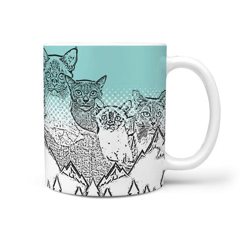 Burmese Cat Mount Rushmore Print 360 White Mug