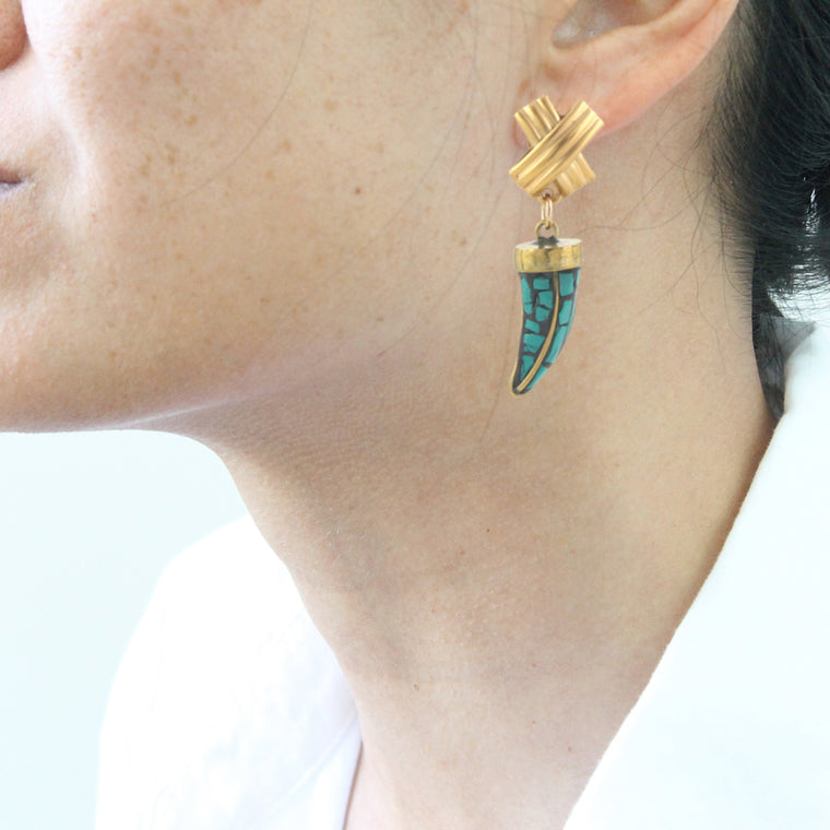Tusk Crosshatch Clip On Earrings