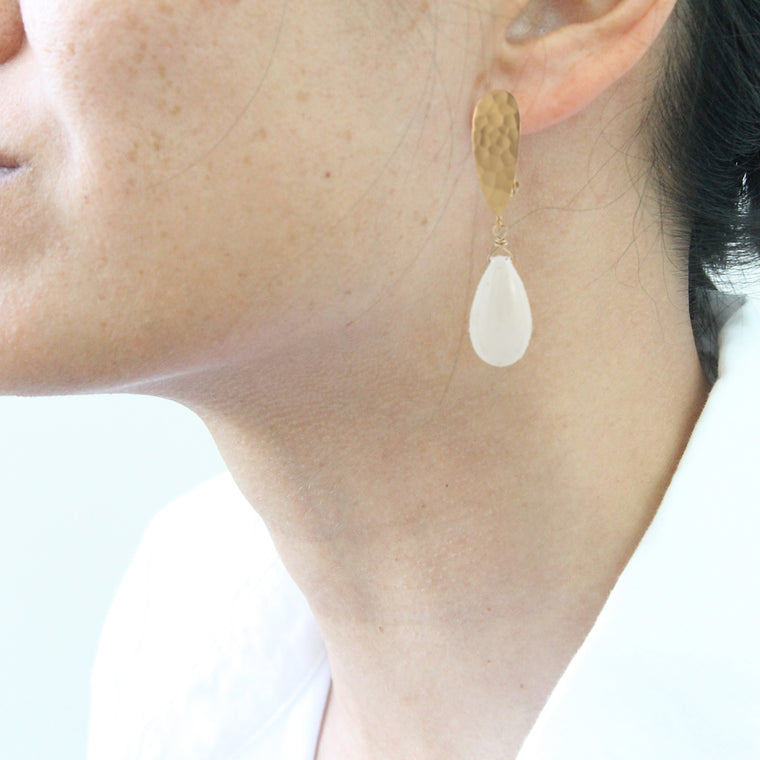 White Coral Clip on Earrings in gold plate