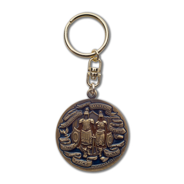 Back side of bronze swivel keychain with warriors