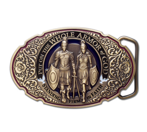 Armor of God bronze belt buckle
