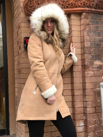 Bergen of Norway Sand Kimberly Shearling Coat