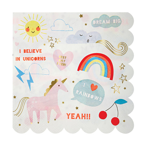Unicorn & Rainbow Napkins (Large)
