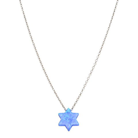 Blue Opal Jewish Star Necklace - Peace Love Light Shop