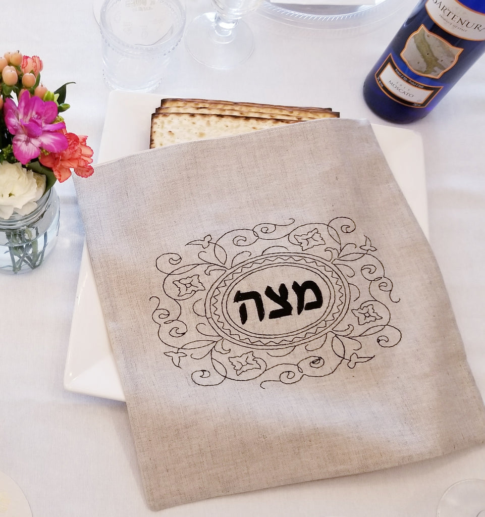 Matzah Cover- Black Embroidered - Peace Love Light Shop