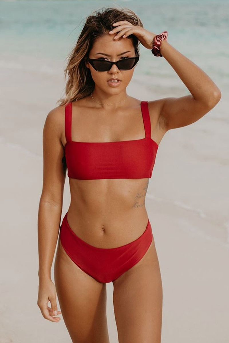 Wave Babe Swimwear Florence Mid High Rise Bottom 2019 New Bikinis Soft Red Wine Sangria High Cut Leg Cheeky Itsy Cut Best Quality Swim Brand Swimsuit Hawaii California Vacation Resort
