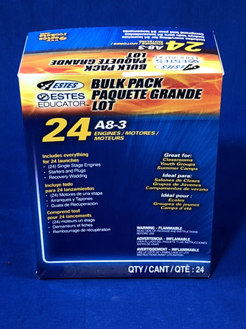 Estes A8-3 Engines (Bulk Pack of 24) - Rockets - Activity Based Supplies