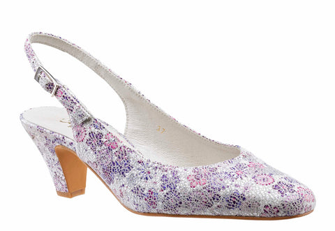 Cefalu Arion Womens Metallic Flower Print Slingback Dress Shoe