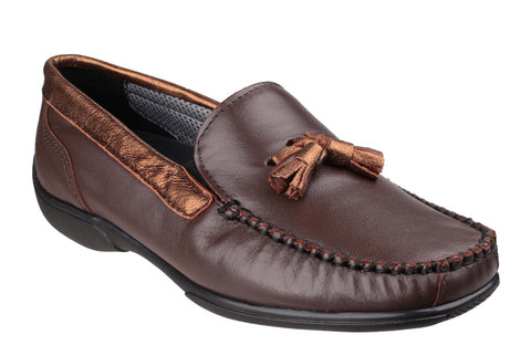 Cotswold Biddlestone Womens Extra Wide Fit Slip On Moccasin Brown/Bronze