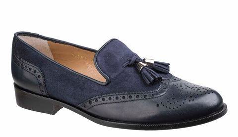 HB Keelby 5756 Ladies Brogue Detail Slip On Loafer With Tassel Trim Navy/Navy S