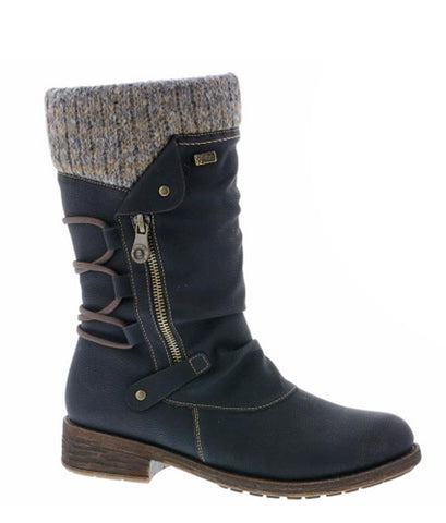 Remonte D8070 Womens Mid Calf Length Warm Lined Water Resistant Casual Boot
