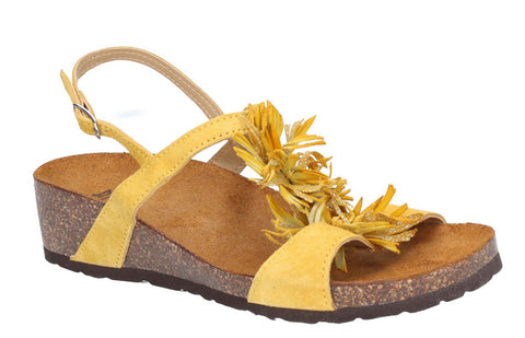 Riva Java Womens Wedge Heeled Slingback Sandal With Flower Trim