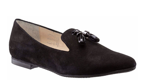 Riva Linnet Womens Suede Leather Tab Front Slip On Loafer With Tassel Trim