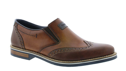 Rieker 13560 Mens Wide Fit Brogue Detail Slip On Shoe
