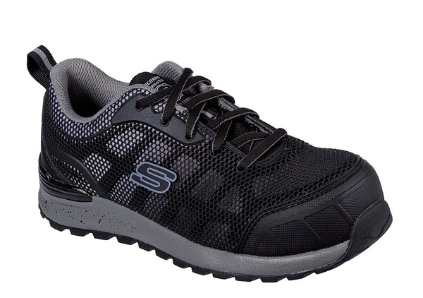 Skechers Workware Bulken-Lyndale Lace Up Athletic Work/Safety Toe Black W/ Gray Trim