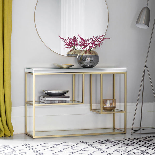 The Designer Console Table in Champagne in situation with vase and mirror