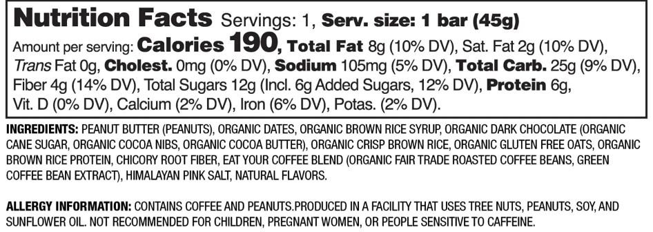 Nutrition Facts Peanut Butter Mocha