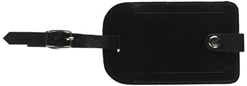 Dacasso Crocodile Embossed Leather Luggage Tag, Black (A2498)