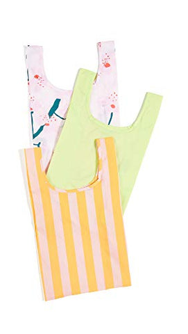 BAGGU Women's Baby Packable Bag Set of 3, Cherry Blossom/Lime/Marigold, Stripe, Floral, One Size
