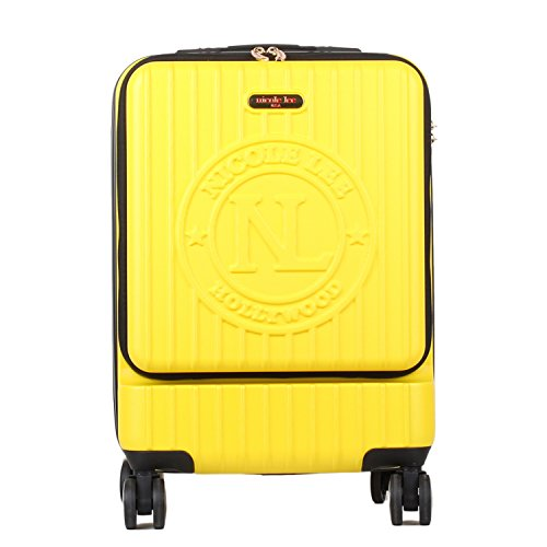 Nicole Lee Women'S Carry Hard Shell Travel Luggage, Laptop Compartment Rolling Wheels, Yellow