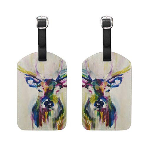 Colorful Abstract Paintings Of Antlers Luggage Tags Travel ID Bag Tag for Suitcase 2 Piece
