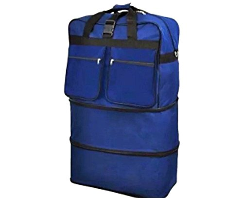 "40"" Navy Blue Large Expandable Rolling 6 Wheeled Duffel Bag Spinner Suitcase Luggage"