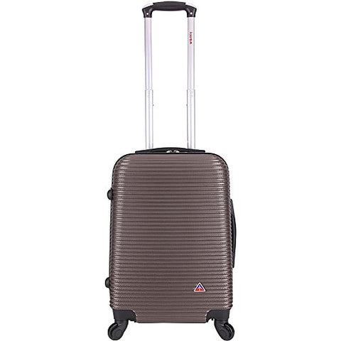 Inusa Royal Collection 20-Inch Carry-On Lightweight Hardside Spinner Suitcase Brown