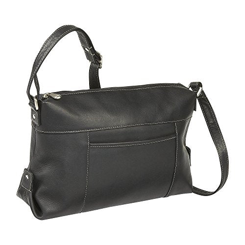 Ledonne Women'S Leather Top Zip Front Slip Shoulder Bag, Black, Small