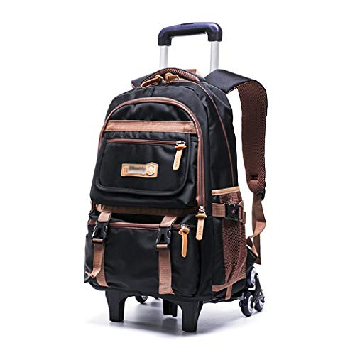 C-Xka Nylon Rolling Backpack Carry-On Luggage Travel Duffel Bag Wheeled Book Bag Detachable Dual